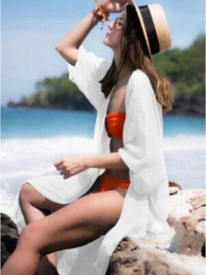 kimono mujer largo semitransparente